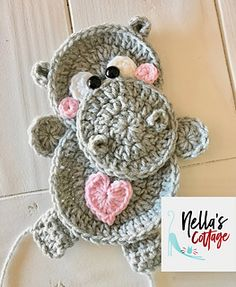 PURCHASED pattern - Crochet - Baby Hippo ~ BEGINNER to intermediate levels ~ about tall but can easily be adjusted by changing hook size. Crochet Flower Patterns, Crochet Motif, Easy Crochet, Crochet Flowers, Crochet Stitches, Free Crochet, Crochet Edgings, Crochet Appliques, Crochet Ideas