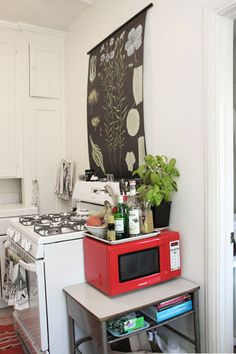 Love the little microwave cart, tiny microwave, tray on top. Would it work beside our stove?