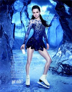 Ice Skating - Sasha Cohen Got Milk Advertisement Figure Skating Hair, Figure Skating Dresses, Roller Skating, Ice Skating, Ice Dance Dresses, Ice Show, Ice Princess, Leotards, Skate