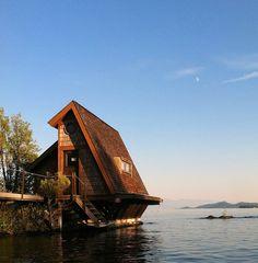 Island cabin on Flathead Lake near Somers, Montana.