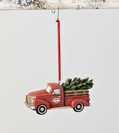 New Farmhouse VINTAGE RED TRUCK FRESH CHRISTMAS TREE ORNAMENT Hanging Figurine #Unbranded Farmhouse Christmas Ornaments, Rustic Christmas, Christmas Tree Ornaments, Fresh Cut Christmas Trees, Vintage Red Truck, Peppermint Candy Cane, Metal Figurines, White Truck, Hanging Ornaments