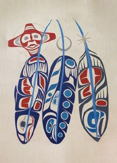 Feathers Postcard: x . Arte Haida, Haida Art, Feather Drawing, Feather Art, Dream Catcher Native American, Native American Art, American History, Arte Tribal, Tribal Art