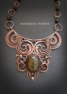 Beautiful statement necklace - hammered swirls of wire (can't get the link to work)