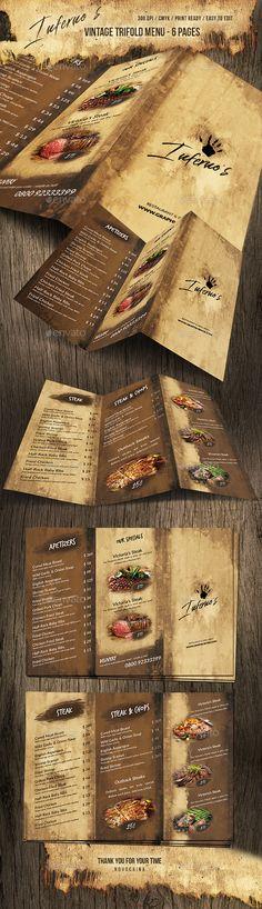 Infernos Vintage Trifold Menu — Photoshop PSD #restaurant #blackboard • Download ➝ https://graphicriver.net/item/infernos-vintage-trifold-menu/20495683?ref=pxcr