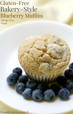 Gluten-Free Bakery-Style Blueberry Muffins (Vegan, Allergy-Free) | Strength and Sunshine @RebeccaGF666 A healthy, big, fluffy, muffin recipe bursting with fresh blueberries! Gluten-Free Bakery-Style Blueberry Muffins that are vegan and allergy-free too! A loved bakeshop classic, now enjoyable for all at breakfast or brunch, with a cup of coffee or tea!