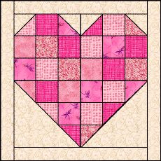 "Scrappy Heart... Block Size -- 9"" x 9"" finished (9½"" x 9½"" with seam allowance)  (pattern adapted from Maggie Malone's 5500 Quilt Block Designs, #838, ""Heart..."