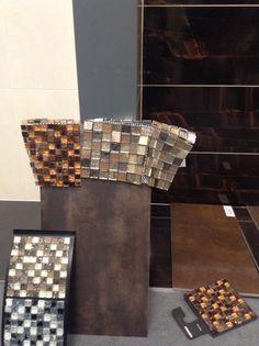 Vanadio tile with 3 mosaic choices Top left grespania musa cobre Top right Verona ice cracked Capricorn Bottom left Verona atlas gold