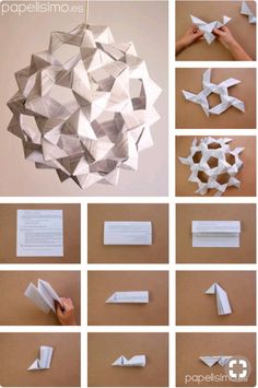 Schritte-Lampe-aus-Papier-Origami-Ikosaeder-Papier-Lampe-DIY Selber Machen Denise Russo The post Schritte-Lampe-aus-Papier-Origami-Ikosaeder-Papier-Lampe-DIY Selber Machen Denise Russo appeared first on Lampe ideen. Origami Design, Instruções Origami, Origami Modular, Origami And Kirigami, Origami Ball, Origami Paper Art, Origami Stars, Diy Paper, Paper Crafting