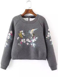 Grey Round Neck Bird Embroidered Crop Sweatshirt -SheIn(Sheinside)