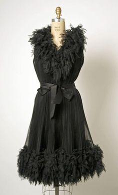 Black silk chiffon cocktail dress, attributed to Cristobal Balenciaga, French, ca. 1963.