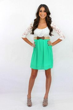 The Sunday Brunch dress with lace top and kelly green bottom $50.00 Available at The Laguna Room www.thelagunaroom.com