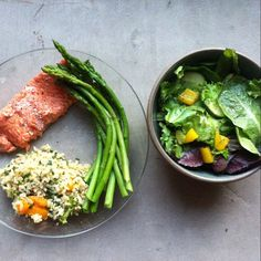 Wild sockeye salmon, brown rice with broccoli and peppers, asparagus and a salad with pepper, cucumbers and avocado