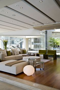 Contemporary Living Room Design. Great furniture and fabrics.