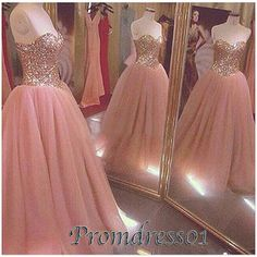 #promdress01 prom dresses - sparkly sweetheart strapless pink organza prom dress for teens, cute ball gown for season 2015