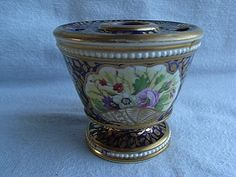 Antique Minton Porcelain Inkwell Hand Painted flowers Gilt C1810 (a.f)