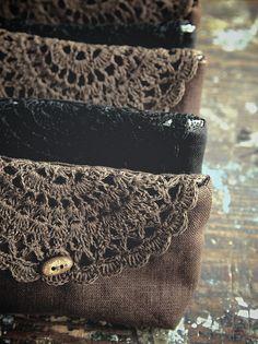 Linen and crochet bags