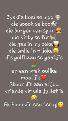 Afrikaans Quotes About Friendship and Pinmichelle Glenda On Friends Happy Wedding Wishes, Happy Birthday Wishes, Friendship Messages, Friendship Quotes, Best Friend Quotes, Best Quotes, Cute Quotes, Funny Quotes, Afrikaans Language