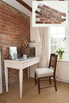 20 Easy Ways to Get Old-House Charm These ½-inch-thick brick veneers are glued to a mesh backing that bonds to drywall like tile—no masonry skill, cement mixing, or troweling r Home Renovation, Home Remodeling, Deco Design, Design Room, Easy Home Decor, My New Room, Old Houses, Farmhouse Decor, Farmhouse Ideas