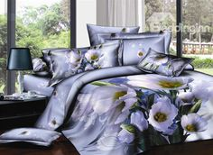 Elegant Dull Purple Printed 4 Piece Cotton Bedding Sets (10489309) - beddinginn.com