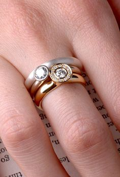 Royal diamond with diamonds gobelin gold ring | Round Dowry diamond | women's 18k gold engagement ring | custom size | Berman Designers