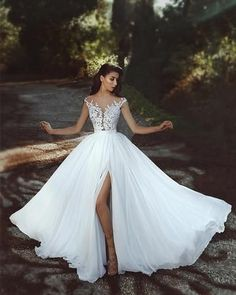 Chic White Wedding Dress Chiffon Lace Cheap Wedding Dress # Source by bckfranzis Related posts:Dressylady Charming Lace Appliques Backless Wedding Dress for Bride with Beaded . Split Prom Dresses, Wedding Dresses 2018, White Wedding Dresses, Cheap Wedding Dress, Bridal Dresses, Weeding Dresses, Beach Dresses, Bridesmaid Dresses, Cheap Dress