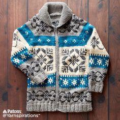 Nordic Stag Knit Jacket | Knit | Free Pattern | Yarnspirations |Canada 150