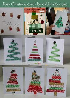 Einfache Weihnachtskarten für Kinder  #easycraftsforchristmas #einfache #kinder #weihnachtskarten