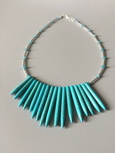 Spiky Turquoise Necklace - Turquoise Necklace - Blue Necklace -...