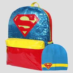 DC Comics Supergirl 16 Backpack with Gwp Beanie - Red/Blue