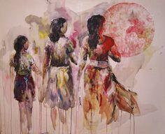 """""""My Sari is my home"""", Mischtechnik auf Leinwand, 135 x 110 cm"""