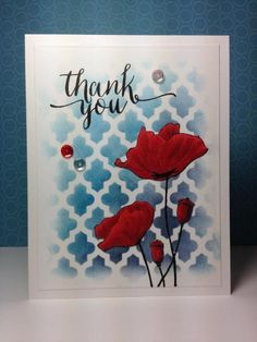 Blooming Garden: PB, stencil, hand lettered thanks: wplus9,  by beesmom - Cards and Paper Crafts at Splitcoaststampers