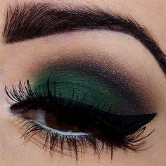 This dark green eyeshadow is a bold winter look!
