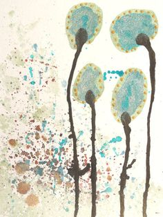 Modern Abstract Art Watercolor Painting Turquoise by LamArtStudio, $36.00