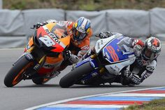 Dani Pedrosa and Jorge Lorenzo, Czech MotoGP 2012 at Brno Circuit. Lorenzo may have walked away with the championship, but I think 2012 was all about Pedrosa.