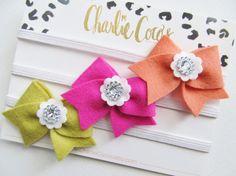 Baby/Girls Felt Hair Bow Headband SetFelt Bow by CharlieCocos, $17.95