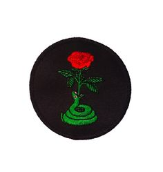 "Snake Rose patch 3"" circle shaped embroidered patch Merrowed border , Iron-on backing"