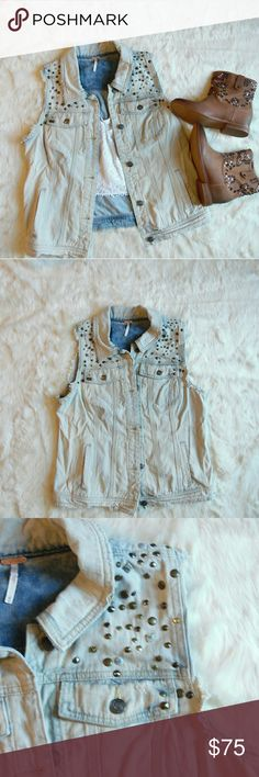 Free People Studded Vest in Blizzard Wash EUC White washed denim Some distressing Stud details Free People Jackets & Coats Vests