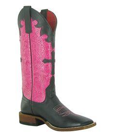 Macie Bean Black & Pink Cross Leather Cowboy Boot by Macie Bean #zulily #zulilyfinds