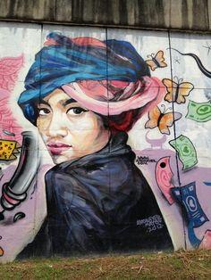 Street art in Kuala Lumpur -Malaysia  Painting by: Anokayer