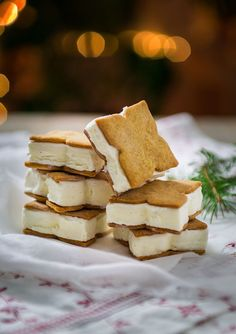 Gingerbread and vanilla ice cream sandwiches. A last minute treat at Christmas.