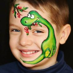 35 Cute Animals Face Painting Ideas For Kids - Art Dinosaur Face Painting, Face Painting For Boys, Face Painting Designs, Body Painting, Animal Face Paintings, Animal Faces, Kids Makeup, Clown Makeup, The Face