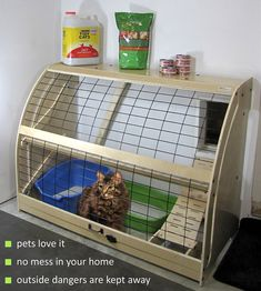 But needs to have fine mesh screening over it to keep bugs out.Litter boxes solved with Pet Outhouse. Move your cat litter out of the house.
