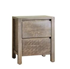 Ruff Sawn Twin Falls Two Drawer Nightstand - Quick Ship Contemporary style bedroom storage. Sleek, solid wood nightstands with a bit of a rustic look. #nightstands