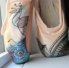 Hand Painted Dance Shoes by Christina Steele, using Pebeo Setacolors, colors can be set by air drying.