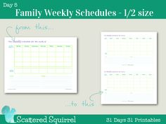 Day 5 - Weekly Family Schedules Printable. At your request I've shrunk down the family schedule printable to fit mini binder, junior arc and other A5 sized books. I hope this handy printable will help you stay organized and keep track of everything your family needs to do in a week.