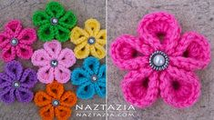 Donna Wolfe from Naztazia http://naztazia.com shows you how to crochet a kanzashi flower. This is a crocheted version of the traditional Japanese ribbon flow...