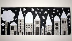Houses, collage with newspaper, street view at night, crafts with c … - Winter Art Winter Art Projects, Winter Project, School Art Projects, Arte Elemental, Classe D'art, Newspaper Art, Kindergarten Art, Art Classroom, Art Club