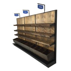 Bread Display Racks : 12'W Store Fixture for Displaying Bakery Items w/wood shelves, wood bins and aisle marker signs
