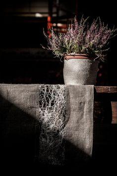 Rustic Designed table runner Burlap linen table cloth Gray linen table decor, housewares