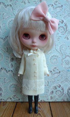 SALE % Cream Felt Coat for Blythe by MissMilupka on Etsy